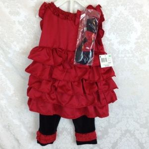 Red Ruffle Dress Set Soft Black Leggings 6/9M NWT